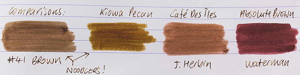 Kiowa Pecan Ink Comparisons
