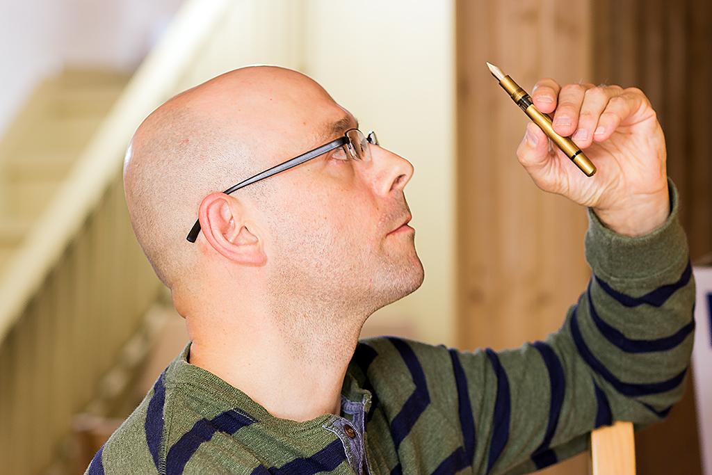 Graeme checking out the nib on a Noodler's Ink Konrad