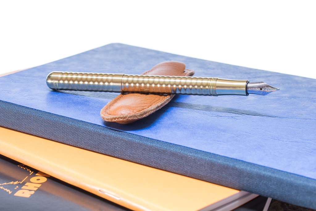 Kaweco Brass Wave Fountain Pen Posted