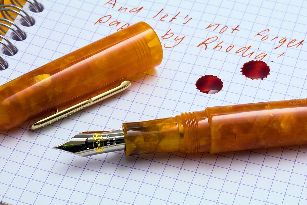 Conklin All American Sunburst and Monteverde Mandarin Orange Ink
